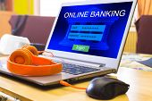 Internet Online Banking Payment Concept. Laptop With The Connection Screen To Online Banking. poster