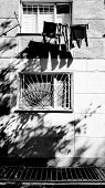 Black And White Photo Of House Wall And Windows With Blurry Shadows From Hanging Laundry And Tree Br poster
