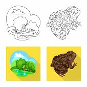 Vector Illustration Of Wildlife And Bog Symbol. Collection Of Wildlife And Reptile Vector Icon For S poster