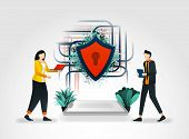 Vector Illustration Concept. People Accessing Data On Internet And Shields Secure Network Connection poster