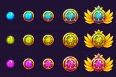 Gems Award Progress. Golden Amulets Set With Round Jewelry. Vector Icons Assets For Game Design. poster