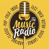 Vector Banner For Music Radio Station With Microphone And Inscription In Retro Style. Radio Broadcas poster