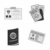 Bitmap Design Of Passport And Travel Symbol. Collection Of Passport And Paper Stock Bitmap Illustrat poster