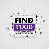 Purple Logo For Find Food. For Food Cover App, Booking Restaurant, Food Websites, Recipe Food, Finge poster