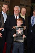 LOS ANGELES - MAR 16:  Malcolm McDowell, son Beckett McDowell at the Malcolm McDowell Walk of Fame S