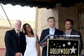 LOS ANGELES - MAR 16:  Malcolm McDowell, Garcelle Beauvais, Mark-Paul Gosselaar, Reed Diamond at the