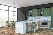 Green And Marble Kitchen, Bar And Table poster