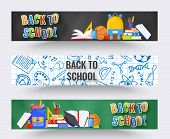 Three Horizontal Back To School Banners. Backpack, Basketball Ball, Pen And School Supplies On Color poster