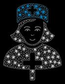 Glowing Mesh Catholic Lady Doctor With Sparkle Effect. Abstract Illuminated Model Of Catholic Lady D poster