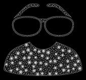 Flare Mesh Clever Spectacles With Glitter Effect. Abstract Illuminated Model Of Clever Spectacles Ic poster