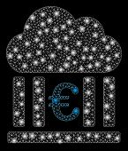 Bright Mesh Euro Cloud Banking With Glow Effect. Abstract Illuminated Model Of Euro Cloud Banking Ic poster