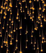 Breathtaking Golden Starfall On White Background. Print. Bright Orange Stars Falling Down, Celestial poster