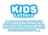 Cute Childrens Letters Isolated On White Background. Ready Font, Alphabet For The Design Of Children poster