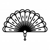 Decorative Hand Fan Icon. Outline Decorative Hand Fan Icon For Web Design Isolated On White Backgrou poster