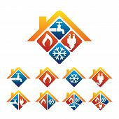 Plumbing, Heating, Cooling, Electrical Store And Service Logo poster