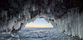 Russia. Eastern Siberia, Lake Baikal. Ice Caves Of Olkhon Island From The Small Sea. poster