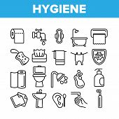 Hygiene, Cleaning Thin Line Icons Set. Sanitary, Personal Hygiene Linear Illustrations. Bathroom, To poster