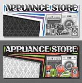 Vector Layout For Appliance Store With Copy Space, Illustration Of Different Red And Green Modern Ho poster