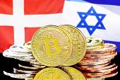 Concept For Investors In Cryptocurrency And Blockchain Technology In The Denmark And Israel. Bitcoin poster