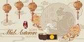 Retro Style Chinese Mid Autumn Festival Vector Design Moon Flower Lantern Tea Moon Cakes And Beautif poster
