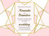 Golden Polygonal Frame. Elegant Wedding Invitation Border, Line Luxury Geometric Template. Vector De poster