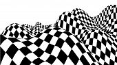 Optical Illusion Wave. Chess Waves Board. Abstract 3D Black And White Illusions. Horizontal Lines St poster