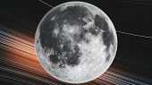 Moon Orbit Rotate Planet Close Up Spiral Galaxy. Celestial Object Map Side Lit Satellite View Galaxy poster