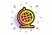 Globe Sign Icon. Halftone Dots Pattern. Geography Symbol. Globe On Stand For Studying. Classic Flat  poster