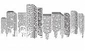 Abstract Futuristic City. Cityscape Buildings Made Up With Dots, Digital Transparent City Landscape. poster