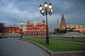 Moscow  Kremlin And  Historical Museum In The Evening. poster