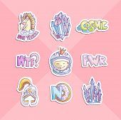 Cute Cartoon Girl Power Stickers. Astronaut Girl, Unicorn, Donut, Helmet And Girl Power Lettering In poster