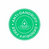 Anti Dandruff Icon. Round And Green Symbol. poster