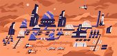 Colonization Of Mars. Panoramic View Of Human Settlement, Habitat Or Space Expedition Base With Mode poster