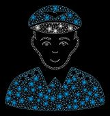 Glossy Mesh Military Pilot Officer With Glitter Effect. Abstract Illuminated Model Of Military Pilot poster