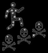 Flare Mesh Man Steps Deaths With Glitter Effect. Abstract Illuminated Model Of Man Steps Deaths Icon poster