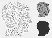 Mesh Man Head Model With Triangle Mosaic Icon. Wire Carcass Polygonal Network Of Man Head. Vector Mo poster