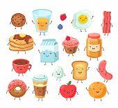 Breakfast Food Characters. Funny Cartoon Lunch Apple Eggs Toast Cake Salt. Tasty Breakfast Comic Fri poster