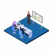 Arab Business Woman Presenting A Business Project. Isometric Male And Female Saudi People Vector Con poster