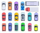 Top View Cars. Auto Transport, Truck And Car Roof Of Vehicle Transport. City Traffic, Automobile Tra poster