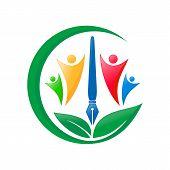Human Character Vector Logo Concept Illustration. Abstract Human Creative Sign. People Logo. Human I poster