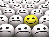 foto of smiley face  - A happy smiley stands out from the crowd - JPG
