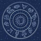 Astrology Circle. Magic Infographic With Zodiac Symbols Gemini Horoscopes Wheel Fish Gemini Aries Li poster