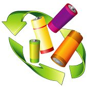 stock photo of reprocess  - Recycle sign and four colorful batteries over white - JPG