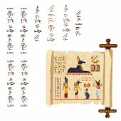 Ancient Egypt Papyrus Scroll With Wooden Rod Cartoon Vector. Ancient Paper With Hieroglyphs And Egyp poster
