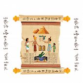Ancient Egypt Papyrus Scroll With Wooden Rods Cartoon Vector. Ancient Paper With Hieroglyphs And Egy poster