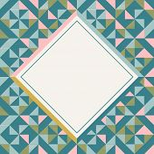 Square Frame In Retro Colors, Abstract Geometric Background Pattern poster
