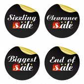 Black Gold Stickers Sizzling,clearance,biggest,end Of With Red Package.vector Illustration poster