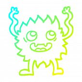 cold gradient line drawing of a cartoon funny furry monster poster