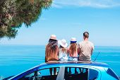 Summer Car Trip And Young Family On Vacation poster