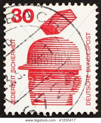 Postage Stamp Germany 1972 Safety Helmets Prevent Injury, Accident Prevention